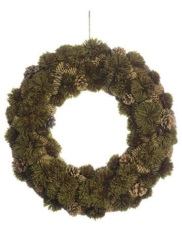 "18"" Pompom/Pine Cone Wreath Green Brown"