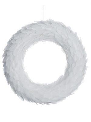 """18"""" Feather Wreath White"""