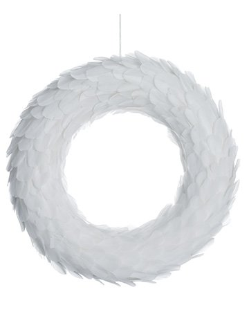 "18"" Feather Wreath White"