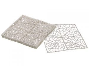 "8"" Glittered Mesh Sheet x6 in Poly Bag White"