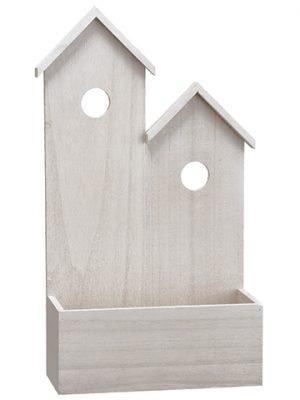"17""H X 9.5""W Wood House x2 Whitewashed"