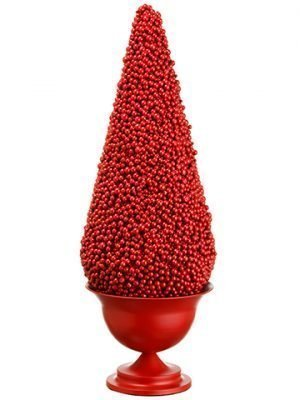 "28"" Berry Cone Topiary in Metal Urn Red"