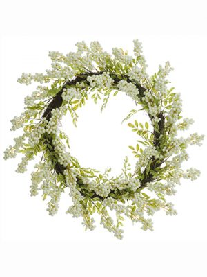 "22"" Berry Wreath White"