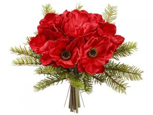 "10"" Anemone/Pine Bouquet Red Green"