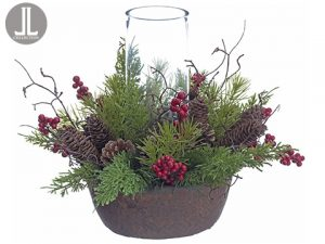 "13""H x 14""D Juniper/Cone/Berry Centerpiece With Glass Candleholder Red Green"