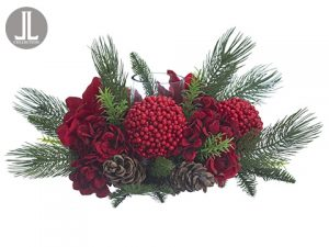 "11"" Hydrangea/Amaryllis/Berry /Cone/Pine Centerpiece With Glass Candleholder Red Green"