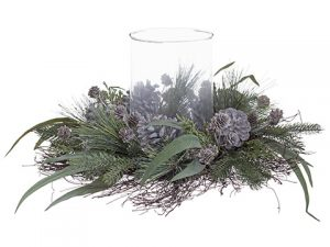 "9.5""H x 18""W Pine/Pine Cone/ Eucalpyptus Centerpiece With Glass Candleholder Green Gray"