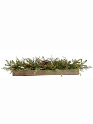 "12""H x 12""W x 48""L Pine/Fern/Cone /Berry Centerpiece in Wood Box w/Glass Candleholder x5 Gr"