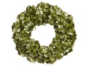 "21"" Glittered Metallic Hydrangea Wreath Green"
