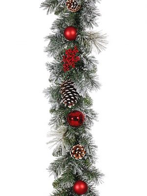 6' Snowed Pine With Cone/Ball /Berry Garland Red Snow