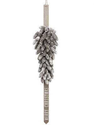 4' Pine Cone Happy HolidaysDoor Swag GarlandBrown Whitewash