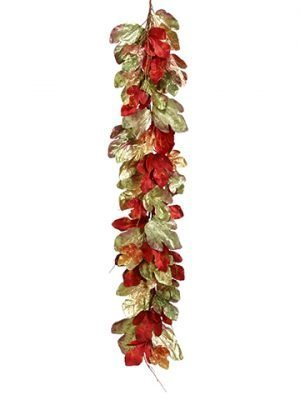 6' Metallic Fig Leaf Garland Mixed