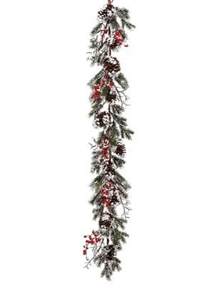 5' Snowed Berry/PineCone/Pine GarlandRed White