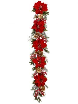 5' Poinsettia/Berry/Pine Cone/ Pine Garland Red Gold