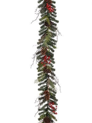 6' Mixed Pine/Cone/Berry Garland Green Red
