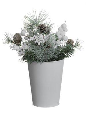 Glittered Berry/Cone/PineArrangement in Tin PotWhite Gray