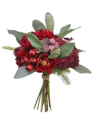 "12"" Hydrangea/Pod/Skimmia/Pine BouquetBurgundy"