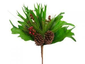 "19"" Berry/Pine Cone/Staghorn /Pine Bouquet Green Brown"