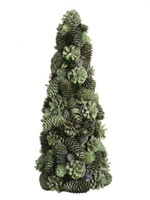 "19"" Iced Pine Cone Topiary Green Ice"