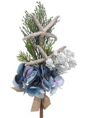 14in Hydrangea/Starfish/Pine Spray Blue Green