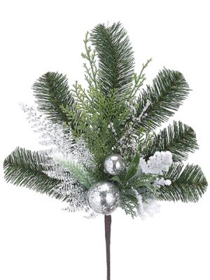"16"" Ornament Ball/Iced Twig/Pine Spray Green Silver"