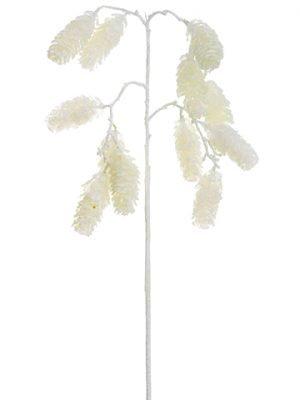 "20"" Glittered Pine Cone Spray White"