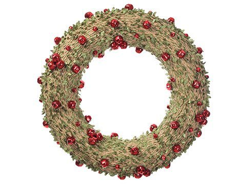 "19"" Mini Leaf Wreath with Bell Green Red"