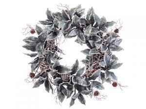 "30"" Glittered Magnolia Leaf with Pine Cone Wreath Green Iced"