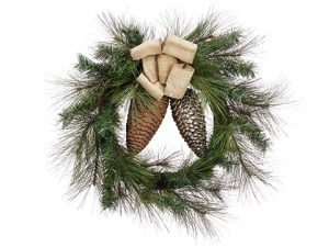 "30"" Mixed Pine Wreath with Pine Cone Green Brown"