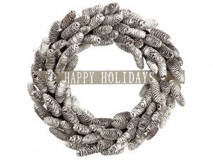 "22"" Pine Cone Happy Holidays Wreath Brown Whitewash"