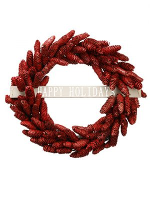 "22"" Pine Cone Happy Holidays Wreath Red"