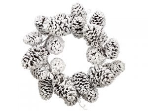 "24"" Snowed Pine Cone Wreath Brown Snow"