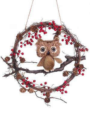 "13"" Owl Berry Twig Wreath Red Brown"