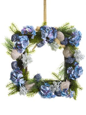 "22""W x 22""L Hydrangea/Shell/Pine Wreath Blue Green"