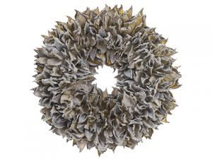 """9"""" Iced Dried Cotton PodWreathGray Ice"""