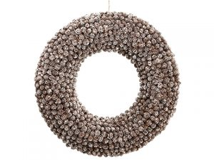 "25"" Pine Cone Wreath Brown Whitewashed"