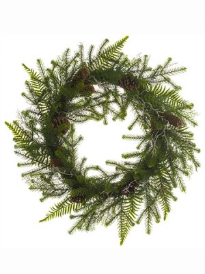 "30"" Pine/Fern/Cone Wreath Green"