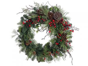 "24""mixed Pine/Cone/Berry Wreath Green Red"