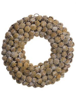 "20"" Iced Pine Cone Wreath Brown Ice"