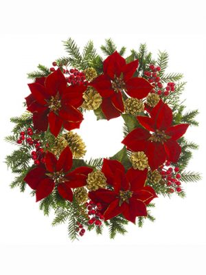 "24"" Poinsettia/Berry/Pine Cone/Pine Wreath Red Gold"