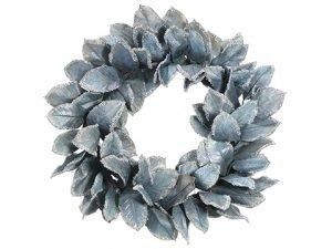 "32"" Glittered Magnolia LeafWreathGreen Gray"