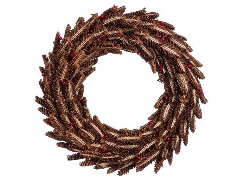 "20"" Pine Cone/Berry Wreath Brown Red"
