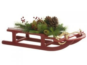 "19""H x 31.5""L Pine/Pine Cone/Berry Sleigh Wall Decor Red Green"
