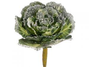"13"" Snowed Cabbage Spray Green Snow"