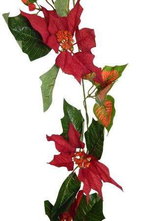 Set of 2 Poinsettia Garland -- 12ft