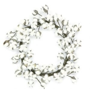 Glittered Cotton Wreath, 22in, Tiffany