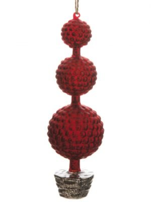 "10"" Glass Triple-Ball Tree Ornament Red Silver"