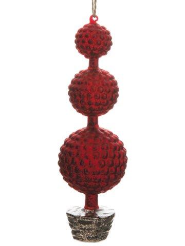 "10"" Glass Triple-Ball TreeOrnamentRed Silver"