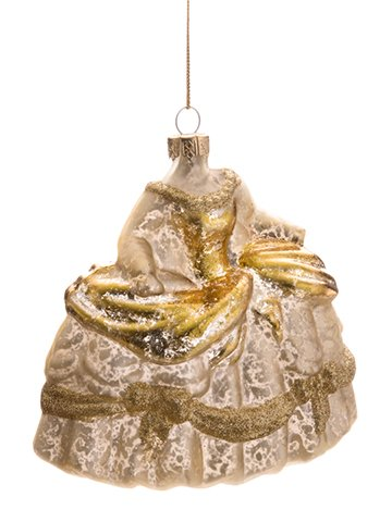 ''4.5'''' Glittered Glass DRESS Ornament Gold''