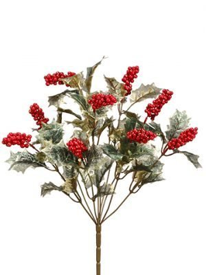 """17"""" Glittered Holly Bush x9With BerryRed"""